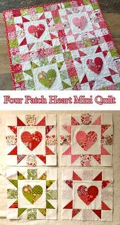 Four Patch Heart Mini Quilt Free Tutorial designed by Amanda Niederhauser for Therm-o-web Small Quilt Projects, Quilting Projects, Quilting Designs, Quilting Ideas, Heart Quilt Pattern, Mini Quilt Patterns, Baby Patterns, Small Quilts, Mini Quilts
