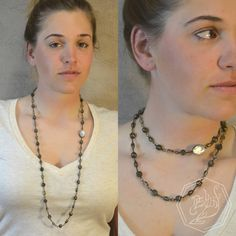 Long necklace with vintage glass gems. #handmade #jewelry #lightbydemunt #fashion #accessory Model:@cleighr08