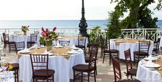 Imagaine your wedding reception on this open air patio with the view of the ocean at Sandals Royal Plantation in Ochos Rios, Jamaica