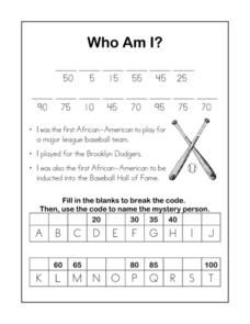 jackie robinson closed reading in the classroom  for this sports heroes worksheet students the clues about a famous african american baseball player students fill in the blanks to break the code and