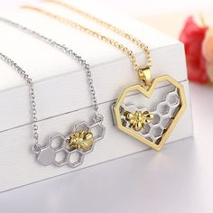Sale 1Pc Golden/Silvery Heart Honeycomb Bee Animal Pendant Women Girls Trendy Lovely Pendant Necklace Gift  // Price: $US $1.39 & FREE Shipping //  Buy Now >>>https://www.mrtodaydeal.com/products/sale-1pc-golden-silvery-heart-honeycomb-bee-animal-pendant-women-girls-trendy-lovely-pendant-necklace-gift/  #MrTodayDeal