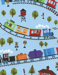 b08989dbac9 Train Fabric Remnants-Boys Cotton Fabric-Choo Choo Trains-RailRoad  Tracks-Toddler Boys-Blue