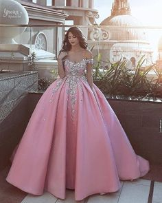 Pink Prom Dresses,Off the Shoulder Prom Gown,Ball Gown Prom Dress,Appliques Prom Dresses,Satin Prom Dress Pink Wedding Dresses, Prom Dresses 2018, Ball Gowns Prom, Ball Dresses, Wedding Gowns, Pink Dresses, Dress Prom, Bridal Dresses, Gown Dress