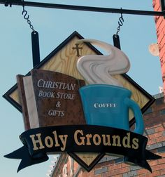 This sign for a Christian bookstore / coffee shop in Fort Worth, TX, made me laugh! -- This is by AntTree, Coffee Shop, Coffee Girl, Coffee Lovers, Christian Book Store, Storefront Signs, Coffee Instagram, Book Cafe, Coffee Signs, Coffee Meme