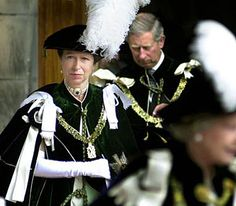 Princess Royal leaves St Giles' Cathedral in Edinburgh, flanked after being installed as a Lady of the Most Ancient and Most Noble Order of the Thistle, July 2001.
