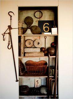 Corey Daniels interior, artists, make art, cabinet, design inspir, hous, display, open shelving, old stuff