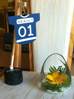 Hockey theme wedding center piece #wedding #centerpiece #tablenumbers