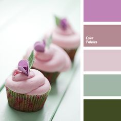 """""""dusty"""" green, """"dusty"""" lilac, """"dusty"""" pink, brown-pink, color of cupcakes, dark green, dark green color, gentle pink, lilac, marsh green, pastel pink, shades of green, shades of pink."""