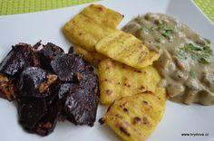 Grilovaná polenta a nápady co k ní… Polenta, Gluten Free Recipes, Tofu, Hummus, Nutella, Free Food, Sushi, Chicken, Meat