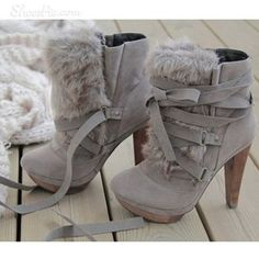 Gray boots with fur