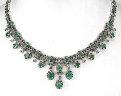Emeralds, Marcasite & Sterling Silver Necklace & Dropper Earrings Suite.  Georgian style.