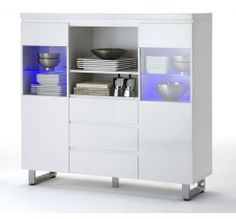 Dining room on pinterest buffet led and consoles - Buffet blanc laque led ...
