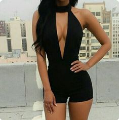 2017 Womens Rompers Overalls Clothing Sexy Deep V-Neck Black Sleeveless Backless Shorts Jumpsuit Fashion Summer Casual Jumpsuits Hot Outfits, Cute Casual Outfits, Summer Outfits, Girl Outfits, Fashion Outfits, Vegas Outfits, Night Club Outfits, Rompers Women, Jumpsuits For Women