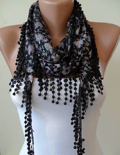 Black and Colorful Scarf with Black Trim Edge by SwedishShop, $12.90