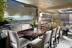 Luxury Yacht Interior Design - Home Decorating Guru Yacht Luxury, Luxury Yacht Interior, Luxury Homes, Boat Interior, Interior Design Tips, Home Design, Design Ideas, Sunseeker Yachts, Interior Railings