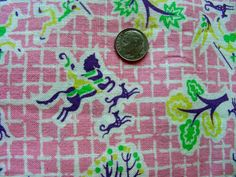Vintage Full Feed Sack Cotton Novelty Fabric  PRETTY by anne8865