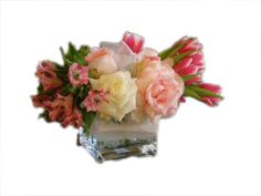 Valentines Flower Arrangement Ideas roses and tulips.  The cube vase always adds drama.