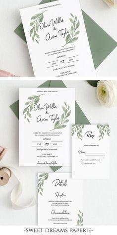 Simple Clean Wedding Invitation RSVP Bundle Greenery Garden Boho Digital Download Editable Modern Bohemian