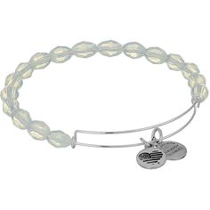 Alex and Ani Retro Glam Serenity Expandable Bangle (Pearly... ($22) ❤ liked on Polyvore featuring jewelry, bracelets, grey, silver hinged bracelet, heart bangle bracelet, hinged bracelet, charm bangles and alex and ani charms