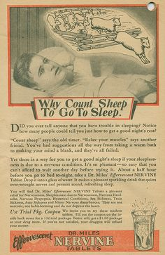 """""""Why Count Sheep To Go To Sleep"""", Dr Mile's Nervine"""