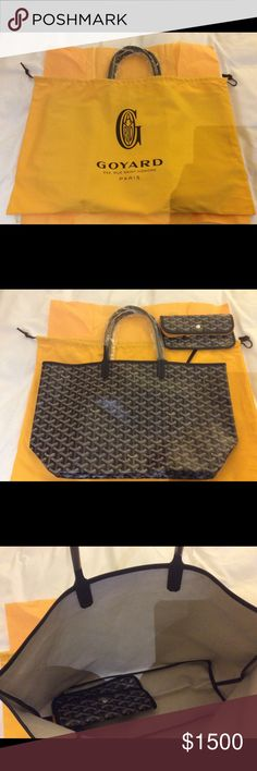 New Goyard Saint Louis PM tote Authentic, Brand New Goyard Saint Louis PM tote which is the smaller size and in new condition, never used. Goyard kept the tag, no tag included but can show you picture of top receipt. Purchased at the Goyard store. Comes with original duster, pouch, pouch protector, Tissue paper, Goyard shopping bag. (Items in picture). Sorry No trades please. Please email if you need more pictures. Was going to be a gift but friends spouse already purchased the same bag…