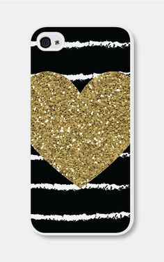 Gold Heart iPhone Case iPhone 4 Case iPhone 4s Case by fieldtrip