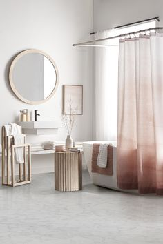 Shades of Blush Collection Bouclair, Flower Shower Curtain, Old Towels, Bathroom Collections, Bath Sheets, Bathroom Curtains, Bathroom Furniture, Home Decor Inspiration, Decoration