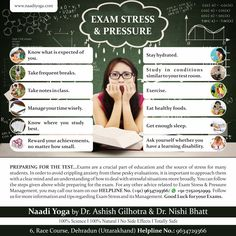 EXAM STRESS & PRESSURE...PREPARING FOR THE TEST/EXAM Exams are a crucial part of education and the source of stress for many students. In order to avoid crippling anxiety from these pesky evaluations, you can follow these steps while preparing for the exam.