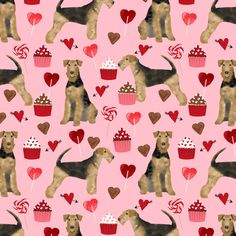 airedale terrier valentines love fabric  dog fabric design valentines pink by petfriendly