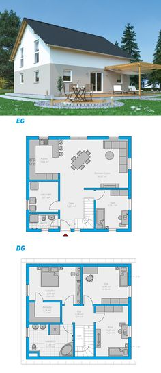 Linea 162 – turnkey solid house storey … - Build Container Home Building Facade, Building A House, Living Haus, Happy House, Architecture Plan, Types Of Houses, Simple House, House Floor Plans, Future House