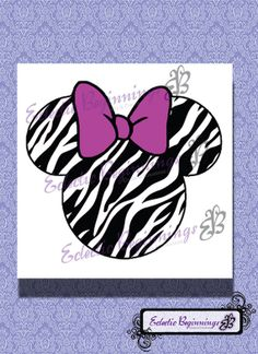 Disney Digital File, DIY Print Iron On-Minnie Mouse Zebra Pink Bow INSTANT DOWNLOAD