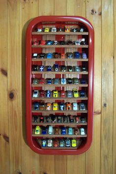 DIY Hot Wheels Storage and Display Case Using an Old Wagon - Easy, fun and creative way to organize your Hot Wheels, Matchbox and other toy cars that your kids and 'big-kids' will love! Hot Wheels Storage, Toy Car Storage, Hot Wheels Display, Kids Storage, Storage Ideas, Storage Baskets, Matchbox Car Storage, Matchbox Cars, Creative Toy Storage