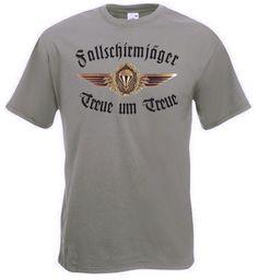 Fallschirmjäger T-Shirt Treue um Treue mit Emblem in Farbe oliv / mehr Infos auf: www.Guntia-Militaria-Shop.de
