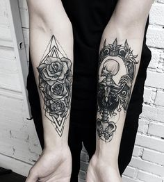 Flower and skull forearm tattoo - 110  Awesome Forearm Tattoos  <3 <3