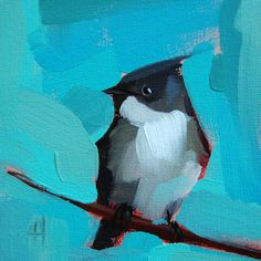 Eastern Phoebe Bird no. 3 original bird oil painting by Moulton   prattcreekart