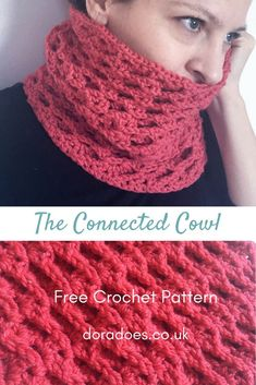 The Connected Cowl - Free Crochet Cowl Pattern. Olympian level warmth! The crochet pattern for this chunky textured women's neck warmer is quick and easy, so its great for beginners / new crocheters.  Made from one skein of Lion Brand Heartland, or any