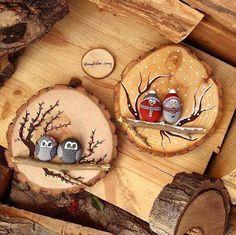 craft - rockbirds - woodslice - ornaments