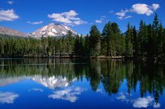 Mt Lassen and Reflection Lake, Lassen Volcanic National Park