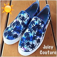 Juicy Couture Blue Palm Tree Slip On Sneakers