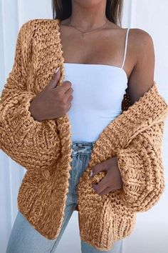 Rotiu Women's New Style Solid Color Puff Sleeve Sweater Cardigan If you're looking for a casual wear, collarless cardigan look no further than this! Our casual cardigan will add an instant style upgrade to your closet. Teenage Outfits, Teen Fashion Outfits, Mode Outfits, Look Fashion, Outfits For Teens, Trendy Outfits, Preteen Fashion, Casual Teen Outfits, Teenager Fashion