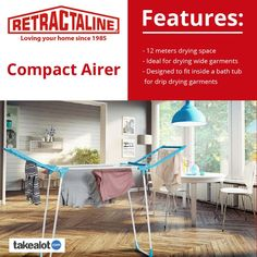 The @retractaline #compact #airer is the perfect space saver with a neat #fold away and 12m drying space. Click below to order yours today from @takealot. Wooden Clothes Rack, Plastic Components, Clothes Dryer, Love Your Home, Handmade Wooden, Compact, Laundry, Pulley