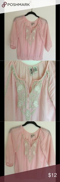 """Embroidered pink gauze Mudd peasant M Beautiful soft, pink gauze, embroidered with luscious white and gold flowers! Elasticized smocking on the hem.  bust 40 length 25"""" mudd Tops Blouses"""