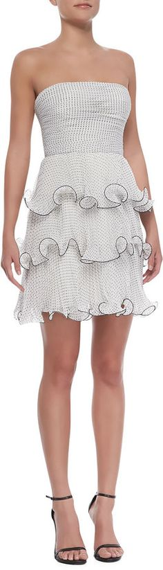 $124, Erin Strapless Tiered Ruffle Polka Dot Dress Blackwhite by Erin Fetherston. Sold by Neiman Marcus. Click for more info: http://lookastic.com/women/shop_items/144919/redirect
