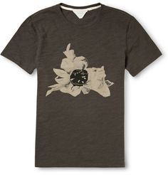Rag & bone Flower-Print Marled-Cotton T-Shirt