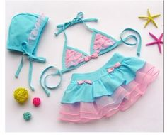 reeshipping New style 10pcs/lot Girls /Baby Swimwear Swimsuit Bathers Tutu Bikini 3 piece SET with Hat for 2 6 T-in Girls from Apparel & Accessories on Aliexpress.com