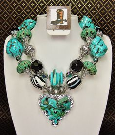 Turquoise / Black / Zebra Chunky Western by CayaCowgirlCreations, $62.50