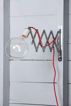 Scissor Wall Lamp - Industrial Wall Light - Bare Bulb