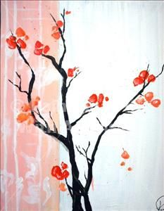 Cherry Blossoms - Fort Worth West, TX Painting Class - Painting with a Twist | I want to attend one of these painting classes!