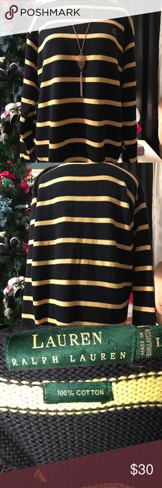 NWOT MSRP $98 Ralph Lauren Large sweater 💋🎁☃️ New without tags and no flaws. Dark navy blue with yellow. 52 inch bust 28 inches long. Ralph Lauren Sweaters Crew & Scoop Necks