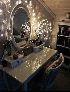 Gorgeous fairy lights around a makeup table.